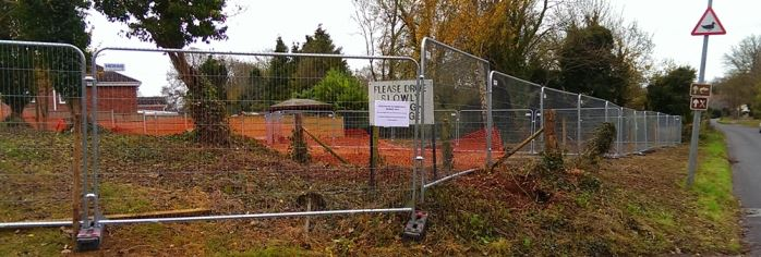 Temporary Site Fencing on hire at Idmiston Cemetery